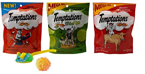 Temptations Mega Size Low Calorie Cat Treats 3 Flavor Variety with 2 Toys Bundle, 1 Each: Rockin' Lobster, Catnip Fever Mix-Ups, Hearty Beef (6.3 Ounces) - Lobster Catnip Toy