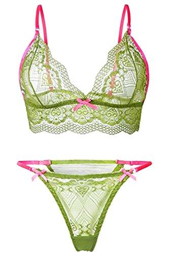 Chomoleza Sexy Lingerie For Women For Sex Lace Bra Set Babydoll Sleepwear Strap Bustier Underwear Suit Green (Strappy Bustier Set)