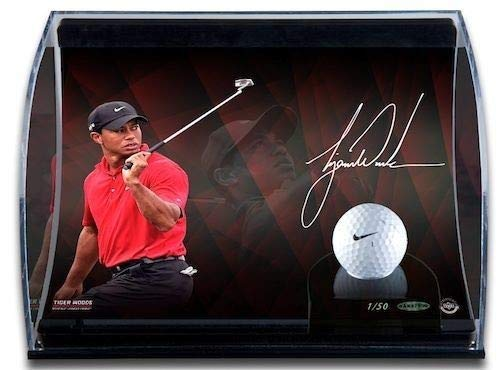 Tiger Woods Curve Display With 8X10 Autographed Signed Memorabilia Image And Range-Driven Ball Upper Deck Authentic Limited Edition 50