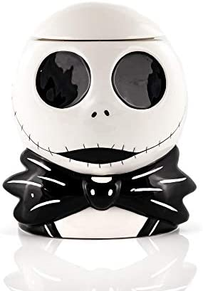 "Toynk The Nightmare Before Christmas Cookie Jar - Jack Skellington Ceramic Storage Skull (9"" x 7"") Tim Burton's Classic Halloween & Christmas Decor - Kitchen, Home & Office Gifts"