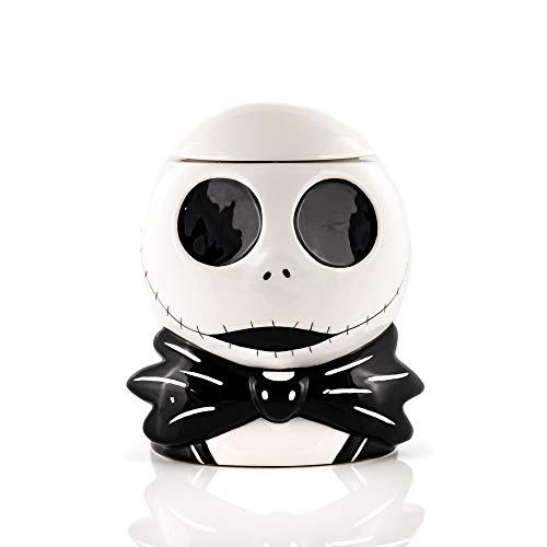 Toynk The Nightmare Before Christmas Cookie Jar – Jack Skellington Ceramic Storage Skull (9″ x 7″) Tim Burton's Classic Halloween & Christmas Decor – Kitchen, Home & Office Gifts