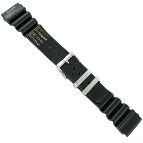 24mm Black Rubber Waterproof Diver Watch Band Strap with N.D. Limits EXTRA LONG (Divers Watch Band Strap)