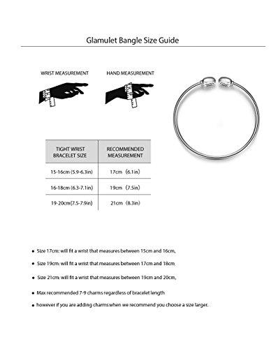 Glamulet Jewelry - 17 cm Heart Clover Bangle Bracelet -- 925 Sterling Silver -- Fits Pandora Charm by Glamulet (Image #3)