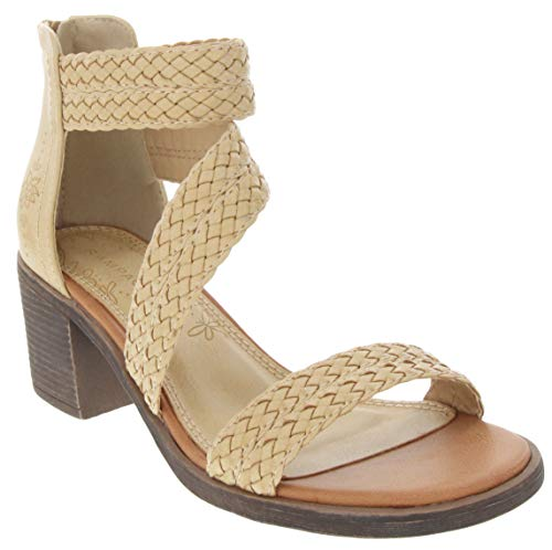 Sugar Women's Haidee Braided Criss Cross Strap Heeled Dress Sandals 8.5 Natural