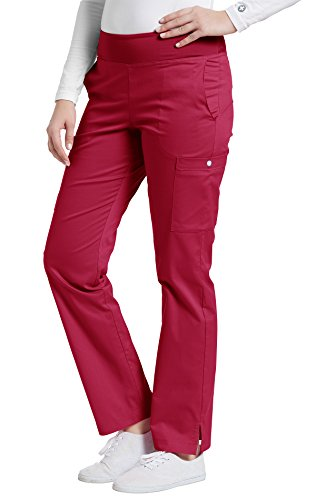 Allure by White Cross Oasis Women's Yoga Elastic Waistband Scrub Pant Small Petite Heritage Red ()