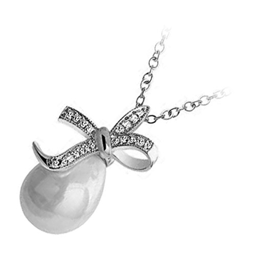 UPCO 18 X 27MM Sterling Silver Plated Bowknot Pendant Necklace, Brilliant White Teardrop Faux Freshwater Pearl