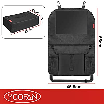 YOOFAN 2 Pack Car Organizer Back Seat with iPad Holder, Thick Kick Mats Back Seat Protector, Backseat Organizer for Kids with 2 Cup Holders, Toy Storage Pocket -Perfect for Cars, Jeeps, Trucks, SUVs: Home Improvement