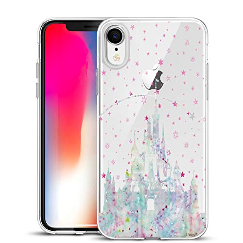 Unov Case Clear with Design Slim Protective Soft TPU Bumper Embossed Pattern [Support Wireless Charging] Cover for iPhone XR 6.1 Inch(Watercolor Castle)
