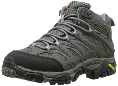 Merrell Women's Moab Mid Gore-Tex Hiking Boot,Grey/Periwinkle,5 M US