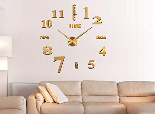 Elikeable Modern 3D Frameless Large 3D DIY Wall Clock Watches Hours DIY Decorations Home for Living Room Bedroom (Gold-1)
