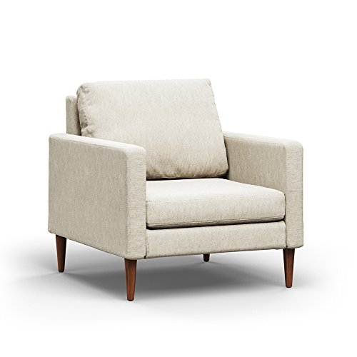 Campaign Steel Frame Brushed Weave Accent Chair, 33 Inches, Almond White with Mahogany Stained Solid Oak Legs
