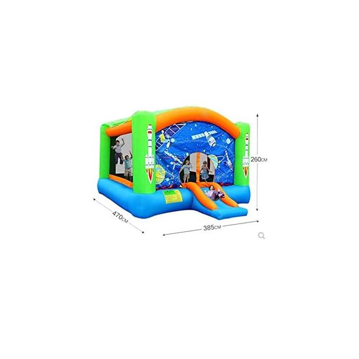 41E2oFn6 tL Viene con una malla envolvente para evitar que los niños se caigan, también un tobogán en el frente para entrar y salir. Un lugar excelente y seguro para que los niños jueguen y se diviertan. Material del ♥-Tamaño: Oxford tela, 260x470x385cm. ♥ fácil instalación y configuración rápida del inflable cerca de 2-3 minutos con ventilador de grado de servicio pesado.Máxima portabilidad con el almacenamiento de bolsa de transporte incluido.