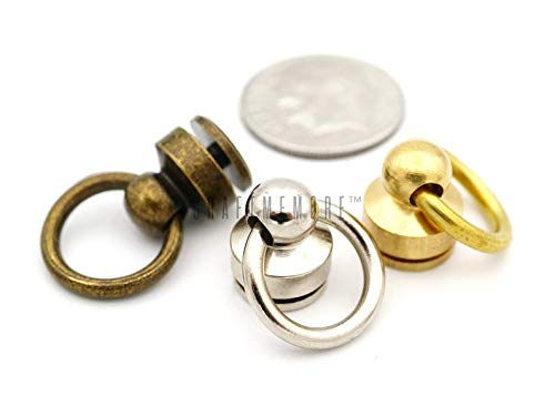 (CRAFTMEmore Wallet Chain Connector Solid Brass Ball Post Screwback O-Ring Concho Leather Craft Wallet Accessories Pack of 2 (Silver, Inside O-Ring 3/8