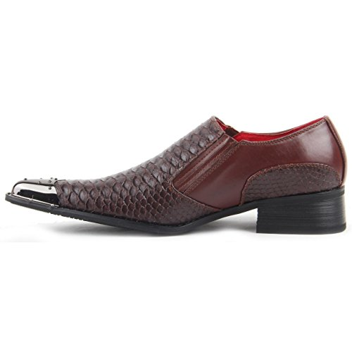 Rossellini Men Smart Casual Shoes, Croc Skin Slip On Metal Toe Pointed Leather Lined Loafer Brown Crocodile