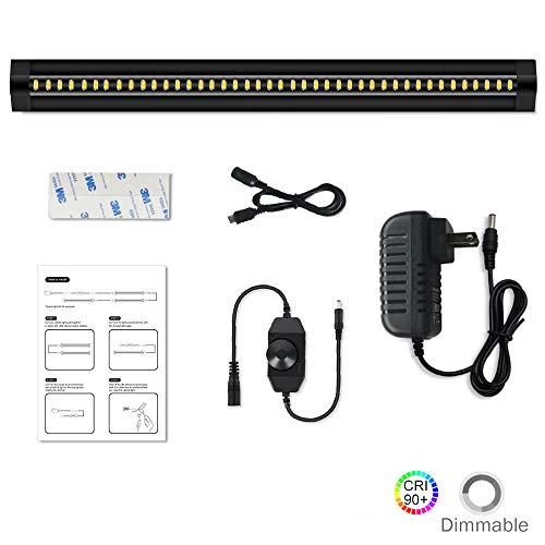 LightingWill LED Under Cabinet Lighting Dimmable CRI90 Daylight White 5000K-6000K Ultra Thin SMD2835 12V 5W(10W Replacement) 450 Lumens 1 Pack Black Color