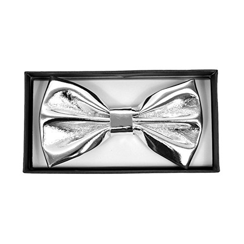 Men's Silver Faux Patent Leather Formal Pretied Bow Tie