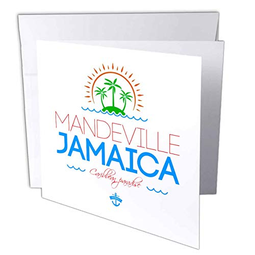 3dRose Alexis Design - Cities Jamaica - Mandeville, Jamaica City. Summer Journey and Fun - 12 Greeting Cards with envelopes (gc_313230_2) -