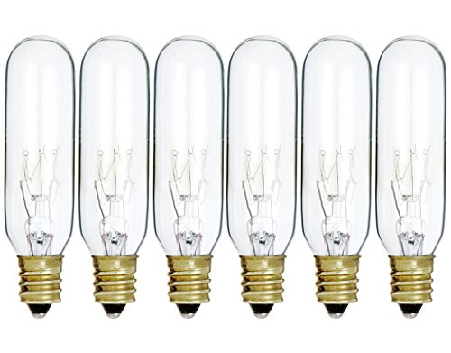 (Pack Of 6) 15T6/CL - 15 Watt T6 Clear Tubular - 120V - Candelabra (E12) Base - Incandescent Light Bulb
