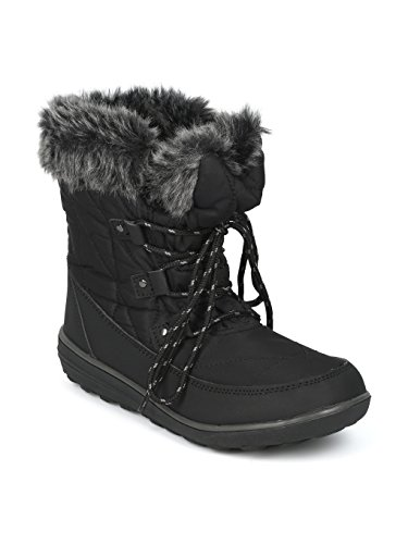 Alrisco Faux Fur Trim Lace Up Outdoor Winter Boot HG06 - Black Mix Media (Size: 8.5)