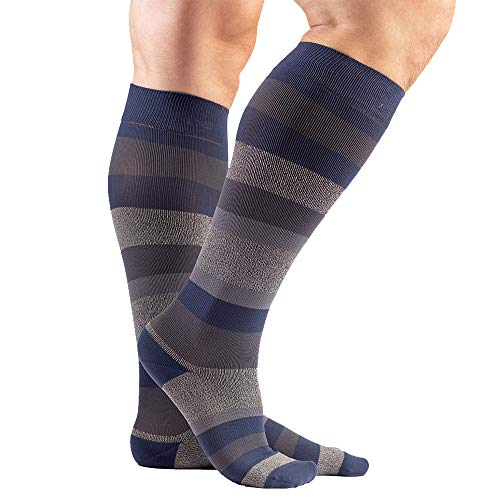 VenaCouture Mens 15-20 mmHg Compression Socks, Bold Regency Stripe Pattern