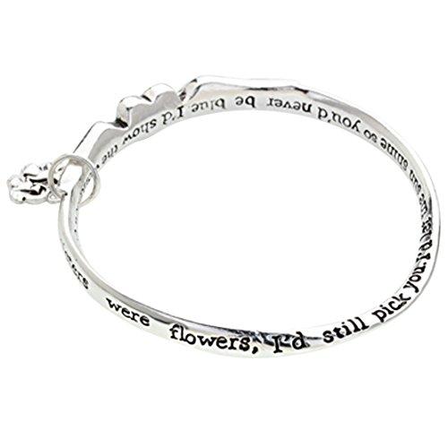 Heart Sister Angel Wings Inspirational Charm Bangle Bracelet Silver Tone