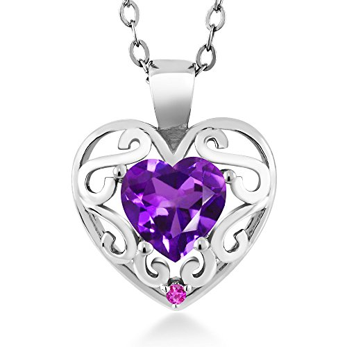 Shape Pink Sapphire Gemstone - 0.66 Ct Heart Shape Purple Amethyst Pink Sapphire 925 Sterling Silver Pendant with 18