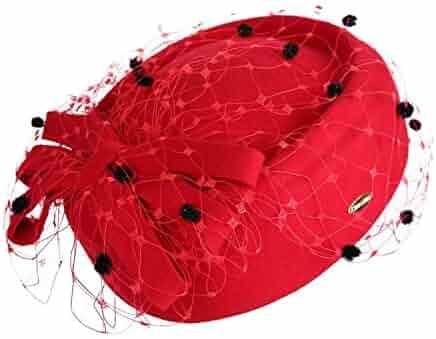 f9836d78146 DOSOMI Women Wool Fedoras Hats Women Felt Hat Veil Mesh Wedding Party Church  Hats Winter Banquet