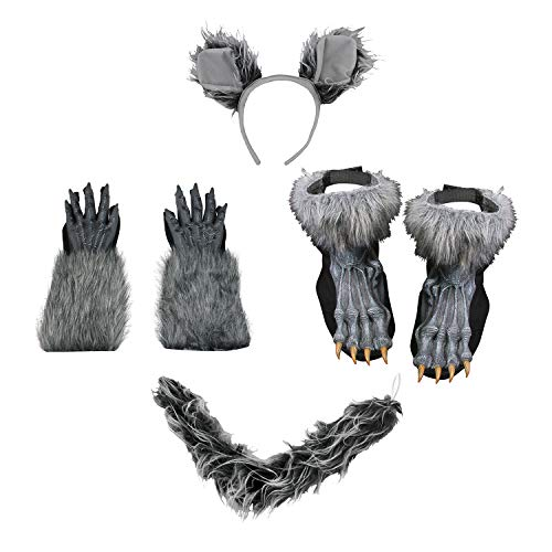 (Deluxe Werewolf Ears Tail Kit Hands Feet Costume Set, Gray, One Size)