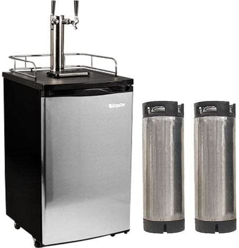 Edgestar Ultra Low Temp Home Brew Dual Tap Kegerator with Kegs – Black and Stainless Steel