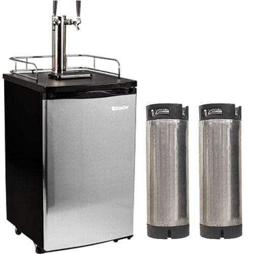 Price comparison product image Edgestar Ultra Low Temp Home Brew Dual Tap Kegerator with Kegs - Black and Stainless Steel