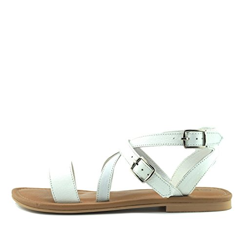 Kick Footwear Women's Summer Comfort Leather Sandals Strappy Holiday Shoes White vBh1xf2ED1