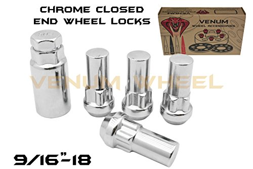 "Used, 5pc Chrome 9/16""-18 2"" Inch Tall Wheel Locking Lug for sale  Delivered anywhere in USA"