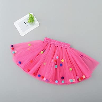 GoFriend Tutu Skirt Baby Girls Tulle Princess Dress 4-Layer Fluffy Ballet Skirt with Pom Pom Puff Ball