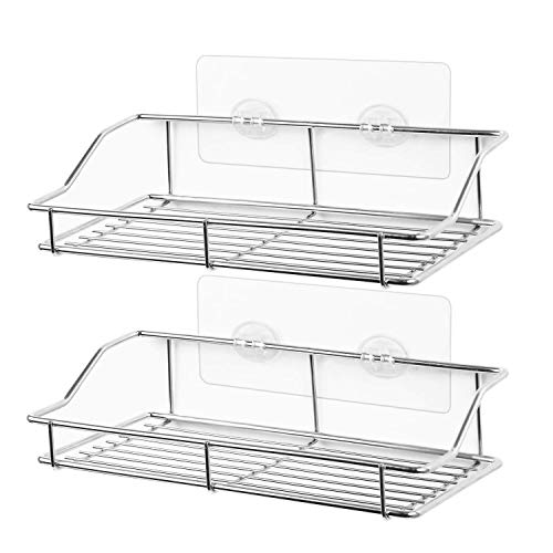 SMARTAKE 2-Pack Shower Caddy, Adhesive Bathroom Shelf Wall Mounted, No Drilling Strong Shower Caddies Kitchen Racks - Stainless Steel Storage Organizers (9.9 Inches)