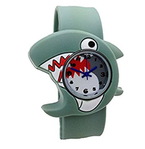 Cute Cartoon Slap Watch Shark Design with Bendable Silicone Strap Wristwatches For Children (Shark School Watch)