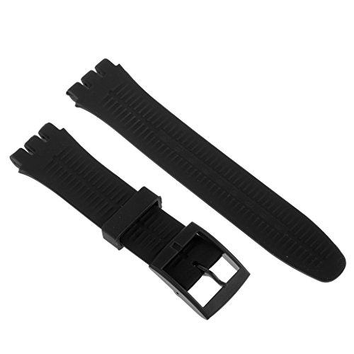 Homyl Silicone Rubber Watch Straps Bands Waterproof for Swatch Replacement Finding Components - Black