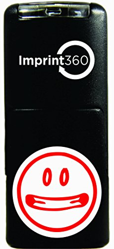 """Imprint 360 AS-IMP2013 AS-IMP2013Round Teacher Stamp - Big Mouth Smiley Face, Red Ink, Durable, Light Weight Self-Inking Stamp, 5/8"""" Impression Area"""