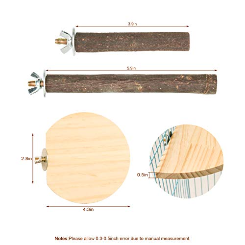 Hamster Squirrel Rabbit Wooden Chew Stick Toy, 3 Pieces Parrot Guinea Pig Totoro Mouse Bird Cage Accessories Standing Platform, 2 Pieces Natural Wooden Parrot Hamster Round Standing Board (Style-1)