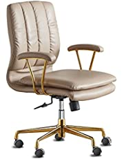 LEAGOO PU-Padded Office Desk Chair, 130° Tiltable Mid-Back Ergonomic Chair Computer Chair, Swivel Executive Office Chair, Home Office Desk Chairs with Upholstered Armrest & Thickened Cushion