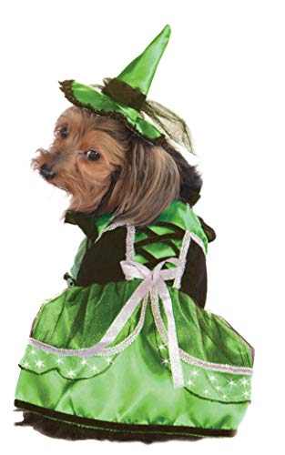 Rubie's Pet Costume, Medium, LED Light-Up Green and White Witch Dress and Hat]()