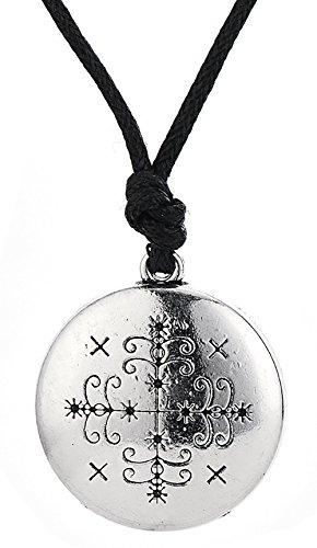 Vintage Gothic Papa Legba Loa Veve Pendant Talisman Voodoo Jewelry for Men Women (antique silver)