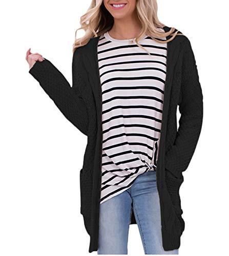 Simple-Fashion Automne Femmes Mi-Longue Tricots Cardigan Casual Sweater Gilets Pullover Coat Tops Outwear Jeune Mode Manches Longues Pull en Maille Manteau Chandail Vestes Hauts Hiver Noir