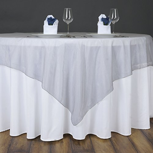 BalsaCircle 5 pcs 72x72-Inch Silver Sheer Organza Table Overlays - Wedding Reception Party Catering Table Linens Decorations