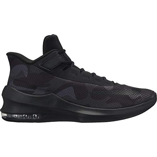 NIKE Men's Air Max Infuriate 2 Mid Premium Basketball Shoe, Black/Black-Black-Anthracite, 10.5