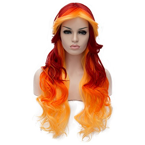Alacos 70cm Red Orange Yellow Long Heat Resistant Hair Multicolored Cosplay Wigs for Women+ Wig Cap -
