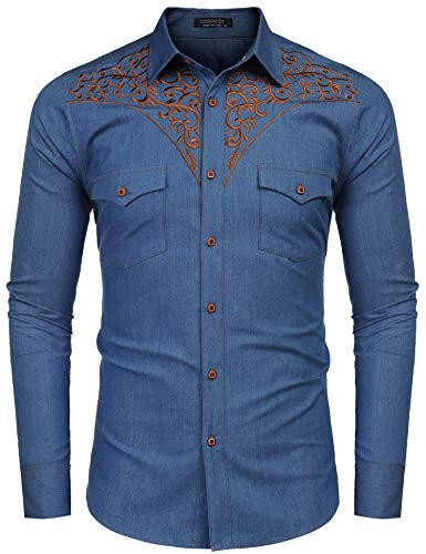 JINIDU Men's Embroidered Shirts Denim Work Casual Button Down Dress Shirt