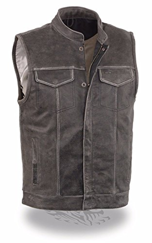 Mens Distressed Grey Motorcycle Son Of Anarchy Style Leather Vest W Gun Pockets  2Xl Regular