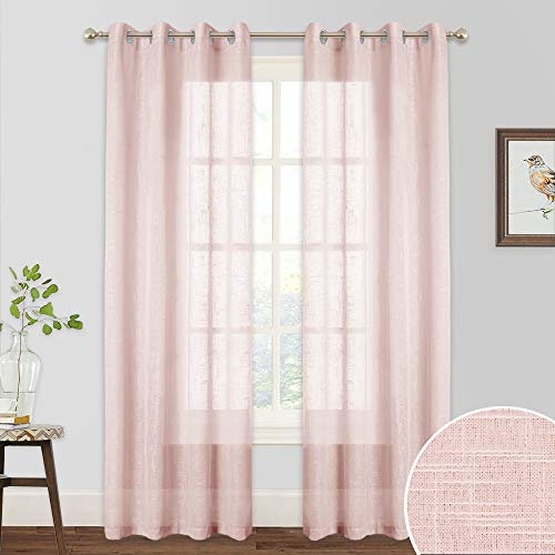 RYB HOME Sheer Curtains for Girls - Linen Texeture Sheer Backdrops Wall Panels for Bedroom, Privacy Voile Window Treatment for Living Room Sliding Door, Width 52 x Length 84, 1 Pair, Pink (Sheers Window Panels)