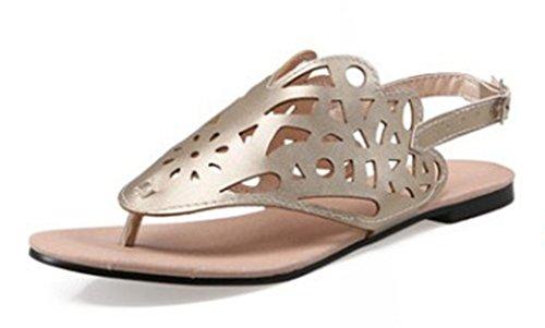 Aisun Women's Simple Comfy Hollow Out Flat Flip Flops Sandals Gold yQI0n26