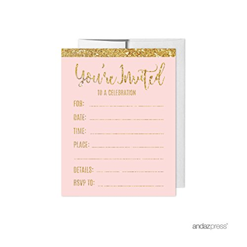 Andaz Press Blush Pink Gold Glitter Print Wedding Collection, Blank Party Invitations with Envelopes, 20-Pack -